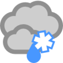 Mulet och något snöblandat regn